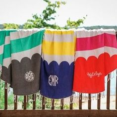 Personalized and Custom Beach towel that is embroidered with name or initials.