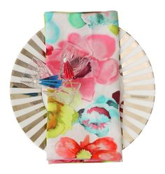 Mrs. Darcy Table Linen- Neon Watercolour Napkin: Sold in a set of 4. These gorgeous napkins are made from 100% cotton and they are a stunning accessory for any table. Team them up with one of our gorgeous table cloths.
