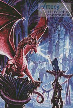 Artecy Cross Stitch. The Dragons Lair Cross Stitch Pattern to print online.