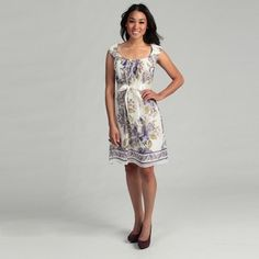 Connected Apparel Women's Purple Floral Dress | Overstock.com    OK this is what I want for bridesmaids.. soft purple, yellow etc watercolor look