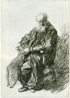 Old Man with Clasped Hands - Rembrandt Guy Drawing, Life Drawing, Painting & Drawing, Rembrandt Drawings, Dutch Painters, Charcoal Drawing, Etchings, Michelangelo, Gravure