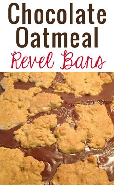 Layers of oatmeal with a gooey layer of chocolate in between - Chocolate Oatmeal Revel Bars Recipe