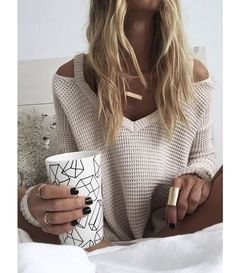 Women's Winter Sweaters V-neck pullover off shoulder Over sized pull femme loose fitting women jumper sweater