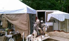 Shopping from Vintage Campers...this photo is one of my vendors at my barn sale...I have a vintage Forester filled with vintage linens, dishes and decor...it's a fun addition to the yard.