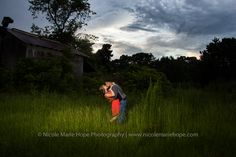 Fayetteville, NC Wedding Photographer   http://nicolemariehope.com/blog/2013/7/18/jordan-eric-engaged-raeford-nc-wedding-photographer  *Gorgeous dramatic outdoor nighttime shoot*  #Engagement #Night #train #Farm #Lighting #Dramatic