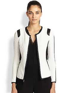 Rebecca Taylor Faux Leather-Trimmed Textured Jacket