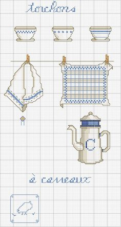 Schema punto croce Oggetti Cucina Cross Stitch Charts, Cross Stitch Designs, Cross Stitch Patterns, Cross Stitching, Cross Stitch Embroidery, Diy Broderie, Cross Stitch Kitchen, Vintage Embroidery, Needlepoint