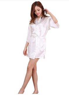 Cheap gown ball, Buy Quality gown bridesmaid directly from China gowns maternity Suppliers: Sexy Large Size Sexy Satin Night Robe Lace Bathrobe Perfect Wedding Bride Bridesmaid Robes Dressing Gown For Women Girls Night Dress, Night Dress For Women, Night Gown, Ladies Night, Womens Nighties, Styles Courts, Silk Kimono Robe, Satin Shorts, Bridesmaid Robes