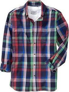 Men's Slim-Fit Shirts (@ Old Navy) // Color: Bright Green Plaid
