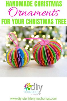 Handmade Christmas Ornaments for your Christmas Tree / DIY project diy christmas ornaments ideas crafts manualidades 98657048074358097 Beautiful Christmas Decorations, Diy Christmas Ornaments, Homemade Christmas, Holiday Crafts, Christmas Music, Christmas Christmas, Christmas Ideas, Handmade Ornaments, Spring Crafts