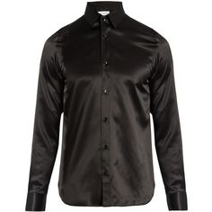 Saint Laurent Point-collar silk-satin shirt ($990) ❤ liked on Polyvore featuring men's fashion, men's clothing, men's shirts, black, yves saint laurent mens shirt, mens holiday shirts, slim fit mens clothing, mens loose shirts and mens slim shirts