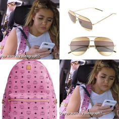 ac7aebbdf86 Brielle Biermann s pink and gold mirrored aviator sunglasses and pink  backpack http   www