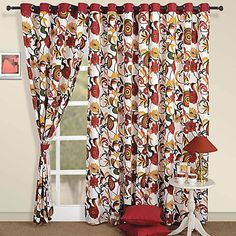 Red Readymade Curtains- Red is the color of passion, love, warmth and energy. Printed Curtains, Red Curtains, To Color, Windows And Doors, Flower Prints, How To Introduce Yourself, Printed Cotton, Things To Come, Contemporary