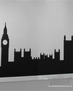 A striking frameless black edged bevelled glass wall mirror, with a black silhouette depicting the iconic London Skyline. School Hallway Decorations, Hallway Decorating, Hallway Ideas, Door Ideas, Classroom Displays, Classroom Themes, The London Eye Mystery, Mary Poppins Halloween, Mary Poppins Musical