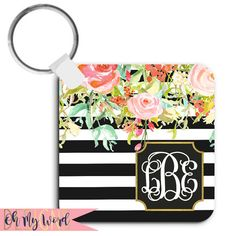 Monogram Keychain-Keychain-Personalized by OhMyWordDesigns on Etsy
