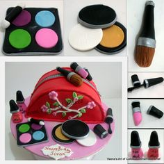 Make Up Bag Cake Recently, I was asked to make a pretty round cake with just a compact and nail polish on it. But.. You know how sometimes you have a brain