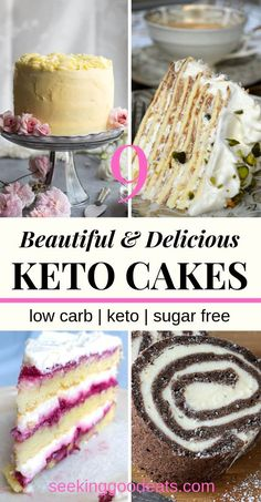 Low Carb and Keto Cake Recipes, Desserts, Have your cake and eat it too! These delicious and beautiful low carb and keto cake recipes are perfect whether you're on a low carb diet, are looki. Desserts Keto, Healthy Cake Recipes, Sugar Free Desserts, Low Carb Recipes, Dessert Recipes, Low Sugar Cakes, Diet Recipes, Keto Snacks, Low Carb Cakes