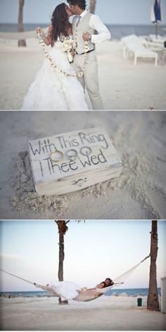 This beach wedding photo idea is picture perfect