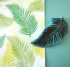 Palma de hoja del árbol, sello de goma, sello Tropical, talladas a mano, decoración, Palm Beach, tropical de verano