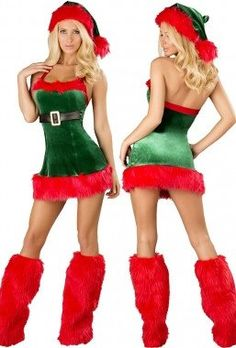 Santa Envy Christmas Costume Halloween Costumes for Women fantasias femininas Sex Product Toys 2015 Fancy Dress Outfits, Dress Hats, Tee Dress, Costume Sexy, Cosplay Costumes, Green Costumes, Christmas Lingerie, Christmas Costumes, Vestidos