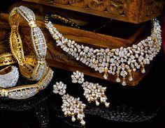 Jewellery Designs: Complete Diamond Set by Reliance India Jewelry, Jewelry Sets, Jewelry Necklaces, Pandora Jewelry, Indian Wedding Jewelry, Bridal Jewelry, Diamond Bangle, Diamond Jewelry, Antique Jewelry