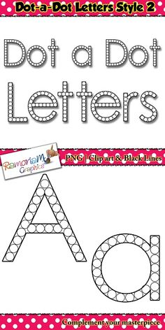 Alphabet letters: dot a dot font clip art set contains 52 letters (upper and lower case) in black and white. Each letter is composed of circles large enough for a dot-a-dot/bingo marker to fit into.