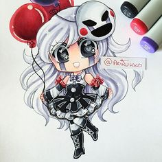 A chibi of my female humanised Marionette (From Five Nights at Freddy's~ I've been meaning to draw her again and I finally got the time to! =D Hope you like it! Anime Fnaf, Anime Kawaii, Anime Chibi, Fnaf Oc, Manga Anime, Five Nights At Freddy's, Fnaf Drawings, Cute Drawings, Small Drawings