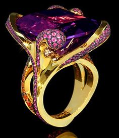 """Mousson Atelier New Age """"""""Chameleon"""""""" Gold Amethyst & Sapphire Ring R0066-0/1"""