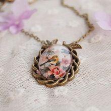Été Style bijoux Vintage Bronze Antique ovale fleur oiseau alliage collier pendentif verre Cabochon déclaration collier pour les femmes(China (Mainland))