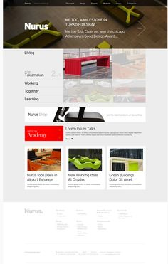 Clean navigation and nice headers/footers on the design for Nurus, a furniture design company.