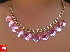 Collar de cadena y cristales rosas. Necklace , YouTube