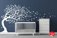 Nursery Decal Tree blowing in the wind. Kids room, playroom wall sticker on Etsy, $112.00
