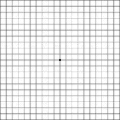 Amsler Grid:  How to use it  Wear your reading glasses, if you normally use them and sit about 14 inches away from the screen.  Focus on the dark dot in the center of the grid.  While looking at this dot, you still should be aware of the lines of the grid. If you notice any blurred, wavy or missing lines, contact your ophthalmologist as soon as possible.