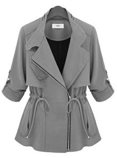 Army Green Notch Lapel Long Sleeve Drawstring Coat ~ looks cute but need to try it on to see how it would look on me . Hijab Fashion, Fashion Dresses, Fashion Clothes, Blazer, Green Coat, Green Jacket, Mode Hijab, Mode Inspiration, Jacket Style