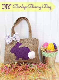 DIY Burlap Bunny Bag: Comes with Bunny pattern to paint OR can applique! :)