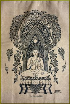 Thai traditional art of Buddha by silkscreen printing on cotton // Yoga Shala // Massage Therapy Room // Interior Decor // Interior Style // Natural // Rustic // Bohemian // Ethical Design // Ethnic Inspired ❤︎ Muay Thai, Paper Mulberry, Lotus Position, Buddha Tattoos, Buddha Painting, Thai Art, Time Tattoos, Buddhist Art, Silk Screen Printing