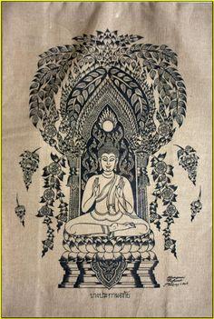 Thai traditional art of Buddha by silkscreen printing on cotton(9) via Etsy