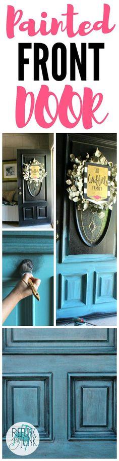 Painted Front Door Colors - Refunk My Junk - Blue Front Door using a custom color Verdigris from Heirloom Traditions