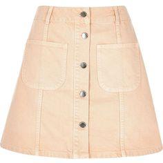 River Island Pink denim button-up A-line skirt (£30) ❤ liked on Polyvore featuring skirts, bottoms, midi skirts, pink, women, pink knee length skirt, denim skirt, button front a line skirt, tall denim skirt and a-line skirt