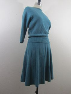 1940s Sweater Dress - Hand Knit Boucle Ensemble in Teal