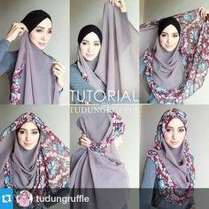 Hijab step by step z mughal Square Hijab Tutorial, Hijab Style Tutorial, Turban Hijab, Hijab Dress, Stylish Hijab, Casual Hijab Outfit, Muslim Fashion, Hijab Fashion, Beau Hijab