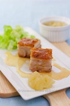 Roast Pork Belly with Apple Puree and Cider Vinegar Vinaigrette @FoodBlogs