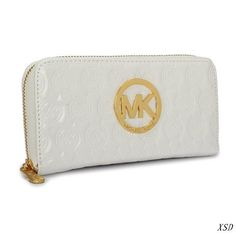MICHAEL Michael Kors Zipper Leather Wallet White