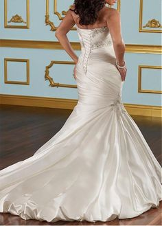Buy discount Glamorous Satin Mermaid Sweetheart Neckline Plus Size Wedding Dress With Beads & Lace Appliques at Dressilyme.com