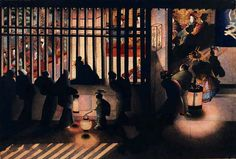 Night Scene in the Yoshiwara - Katsushika Oei. Oei was the daughter of Katsushika Hokusai. Miss Hokusai, Katsushika Hokusai, Geisha, Memorial Museum, Gifs, Japanese Painting, Chinese Painting, Chinese Art, Painting Art