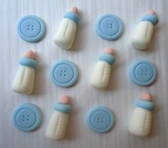 "Fondant Cupcake Toppers - As seen in Kate Landers own baby shower!    Quantity - 1 Dozen  Design - 6 Buttons and 6 3-D Baby Bottles  Size - Approximately 1 to 1 1/2 inches    Yes, you can change the color! If you prefer a different color, please let me know in the ""message to seller"" box as you checkout or convo me.    Fondant decorations should be stored in an air-tight container and away from moisture. Do not place in the sun or in the refrigerator or freezer.    * IMPORTANT INFO…"