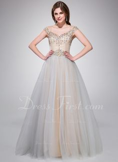 A-Line/Princess Off-the-Shoulder Floor-Length Taffeta Tulle Prom Dress With Beading Sequins (017041096) - DressFirst