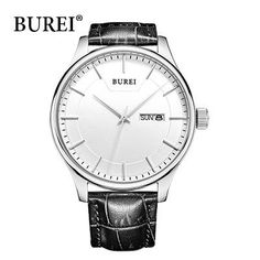 424b949fe781b Real BUREI Men Watch Day And Date Display Male Clock New Big Dial White  Lens Black Leather Strap Quartz Wristwatch Hot Sale