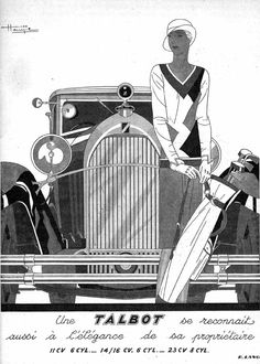 TALBOT French Automobile Magazine Advertisement 1930 – Rue Marcellin Original Vintage French Magazine Illustration advertising the luxurious Talbot car. Very Art Deco. Perfect for the golf lover! Art Deco Artwork, Art Deco Posters, Poster Prints, Car Posters, Art Art, Art Deco Illustration, Magazine Illustration, Motif Art Deco, Art Deco Design