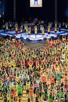 Morale Captains and Dancers perform the Line Dance during THON 2010. A THON tradition created each year and performed more than 46 times throughout the weekend.